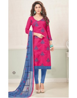Casual Wear Pink & Blue Cotton Jacquard Salwar Suit  - 1002A