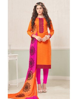 Casual Wear Orange & Pink Cotton Jacquard Salwar Suit  - 1004A