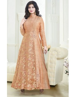 Ayesha Takia In  Peach Banglori Silk Anarkali Suit  - 180