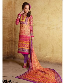 Beautiful Party Wear Printed Cotton Multicolor Salwar Kameez - 24CA29-01-A ( 24CA-24CA29 )