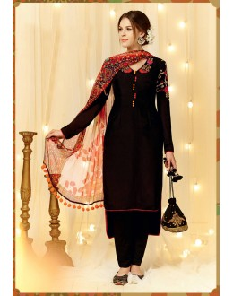 Beautiful Cambric Cotton Embroidered Black Salwar Suit - 24CA84-1007 ( 24CA-24CA84 )