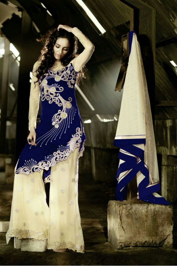 Beautiful Pure Georgette Embroidered Navy Blue & Cream Palazzo Suit - 24CA84-1004 ( 24CA-24CA84 )