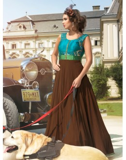 Designer Digital Handwork Georgette Party Wear Brown Gown - 24CA84-1006 ( 24CA-24CA84 )