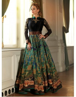 Designer Digital Print Bhagalpuri Silk Party Wear Black Gown - 24CA84-1005 ( 24CA-24CA84 )