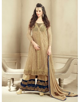 Beautiful Chiku Georgette & Net Embroidered Palazzo Suit - 24CA96-1001 ( 24CA-24CA96 )
