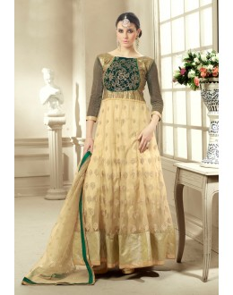 Beautiful Cream Georgette & Net Embroidered Anarkali Suit - 24CA96-1005 ( 24CA-24CA96 )