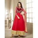 Beautiful Red Georgette & Net Embroidered Anarkali Suit - 24CA96-1002 ( 24CA-24CA96 )