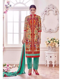 Beautiful Multicolor Banglori & Bhagalpuri Silk Embroidered Salwar Suit - 24CA98-021 ( 24CA-24CA98 )