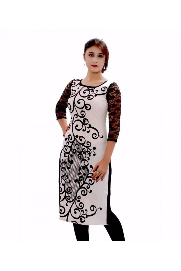Beautiful Casual Wear Georgette Printed Work White Kurti - 24CT02-07 ( 24CA-24CT02 )