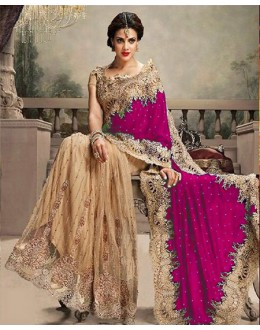 Bollywood Replica - Wedding Wear Pink & Beige Saree - 24CS12-9030-A