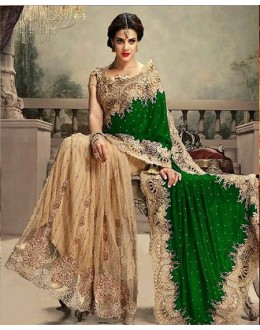 Bollywood Replica - Traditional Green & Beige Saree - 24CS12-9030-C
