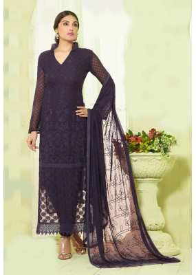 Party Wear Blue Chiffon Embroidered Salwar Suit - 24CA135-2212