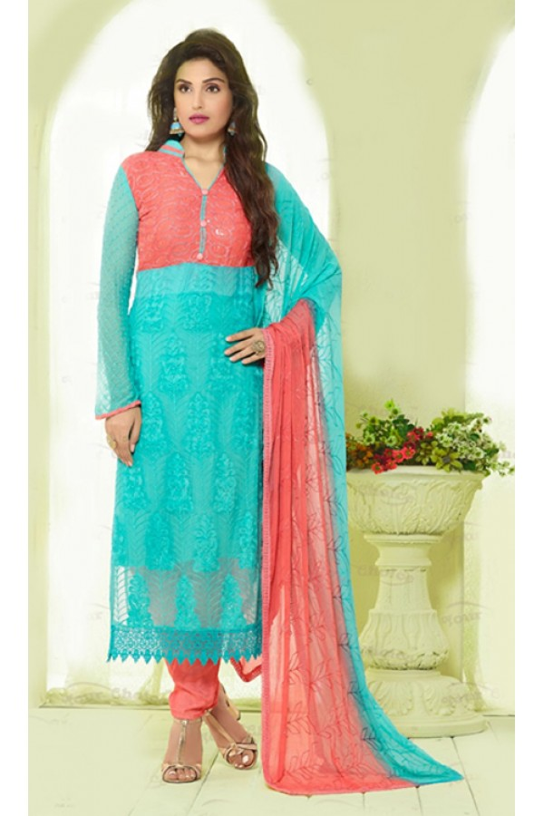 Party Wear Sky Blue & Pink Chiffon Salwar Suit - 24CA135-2219