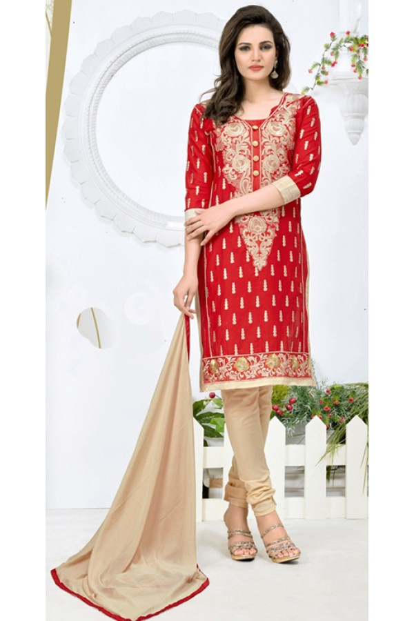 Ethnic Wear Red & Beige Salwar Suit - 24CA136-06