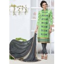 Office Wear Green & Grey Churidar Suit - 24CA136-07