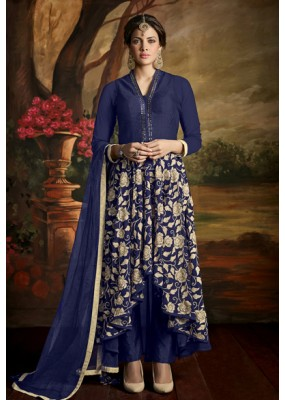 Party Wear Blue Poly Georgette Anarkali Suit - 24CA139-169