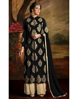 Party Wear Black Poly Georgette Palazzo Suit - 24CA139-171