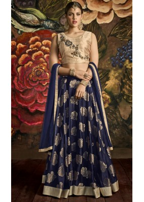 Wedding Wear Beige & Blue Lehenga Choli - 24CA139-173