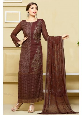 Festival Wear Brown Chiffon Salwar Suit  - 24CA151-2311