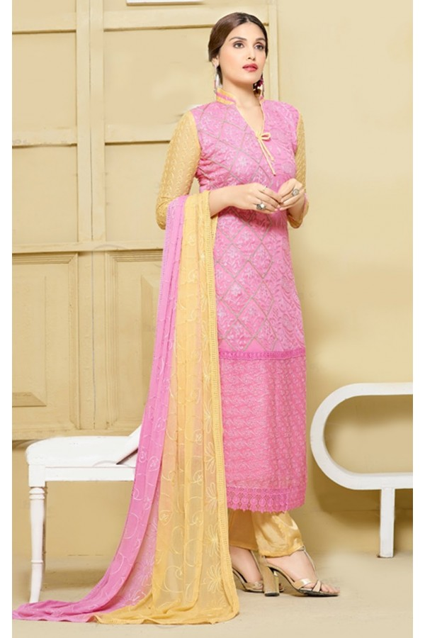 Office Wear Light Pink & Yellow Chiffon Salwar Suit  - 24CA151-2313