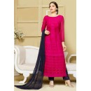Ethnic Wear Pink & Blue Chiffon Salwar Suit  - 24CA151-2314