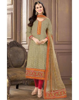 Casual Wear Grey & Red Jacquard Cotton Salwar Suit  - 83006