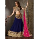 Georgette Navy Blue Lehenga Choli Dress Material - 67626