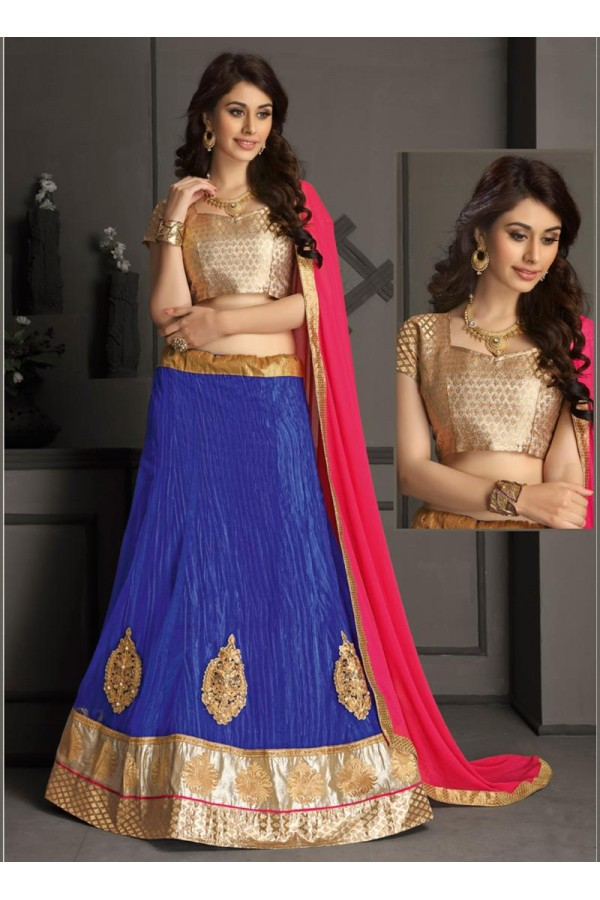 Gota Silk Blue Lehenga Choli Dress Material - 67633