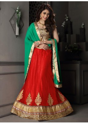 Gota Silk Red Lehenga Choli Dress Material - 67628
