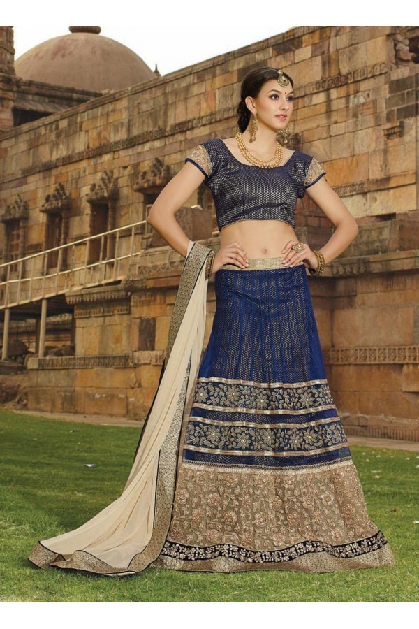 Net Navy Blue Lehenga Choli Dress Material - 67650