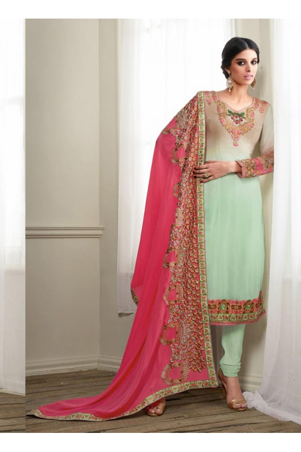 Georgette Green Salwar Suit Dress Material - 36215