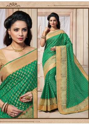 Traditional Wear Art Silk Green Saree - 67949
