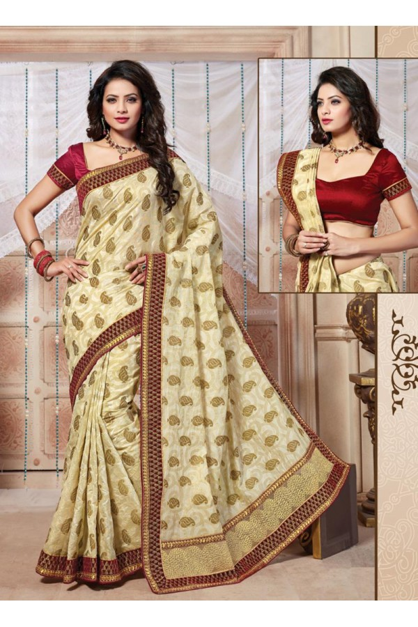 Traditional Wear Art Silk White Saree - 67947