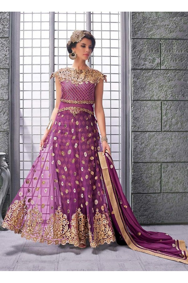 Party wear Fuchsia Net Salwar suit -67892