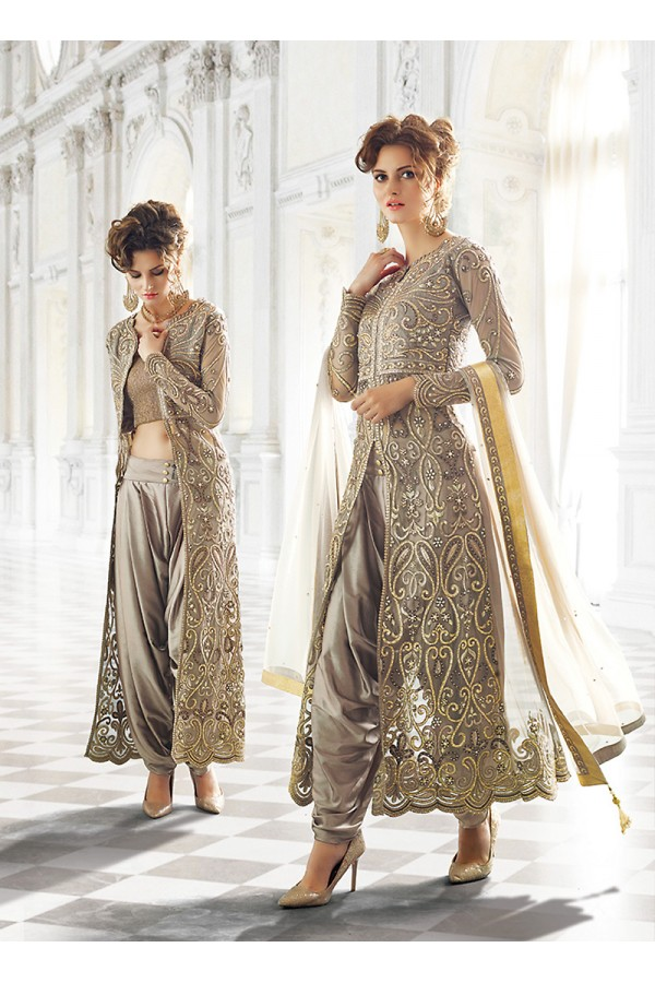 Party wear Grey Net  Salwar suit -67900
