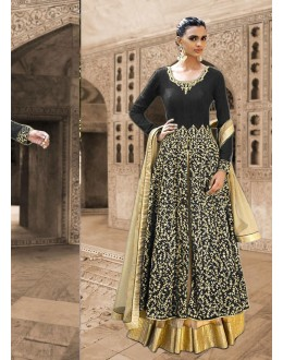 Bhagalpuri Silk Black Anarkali Suit Dress Material - 67915