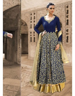 Bhagalpuri Silk Blue Anarkali Suit Dress Material - 67918