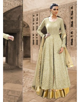 Bhagalpuri Silk Brown Anarkali Suit Dress Material - 67916
