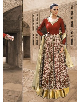 Bhagalpuri Silk Red Anarkali Suit Dress Material - 67917