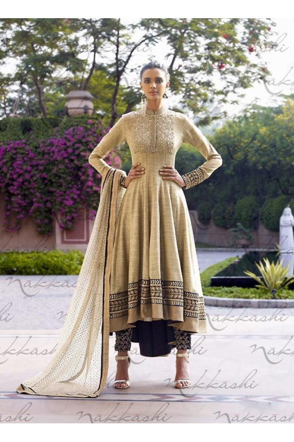 Jute Brown Anarkali Suit Dress Material - 67908