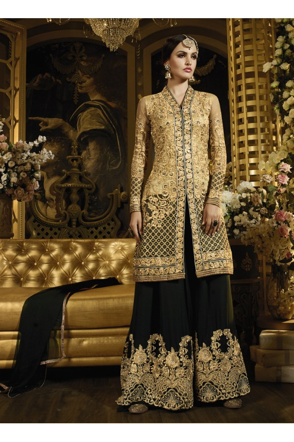 Party wear Brown Net Salwar suit -69528