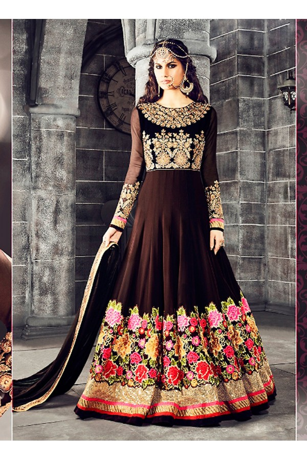 Party wear Brown Georgette Salwar suit -69892