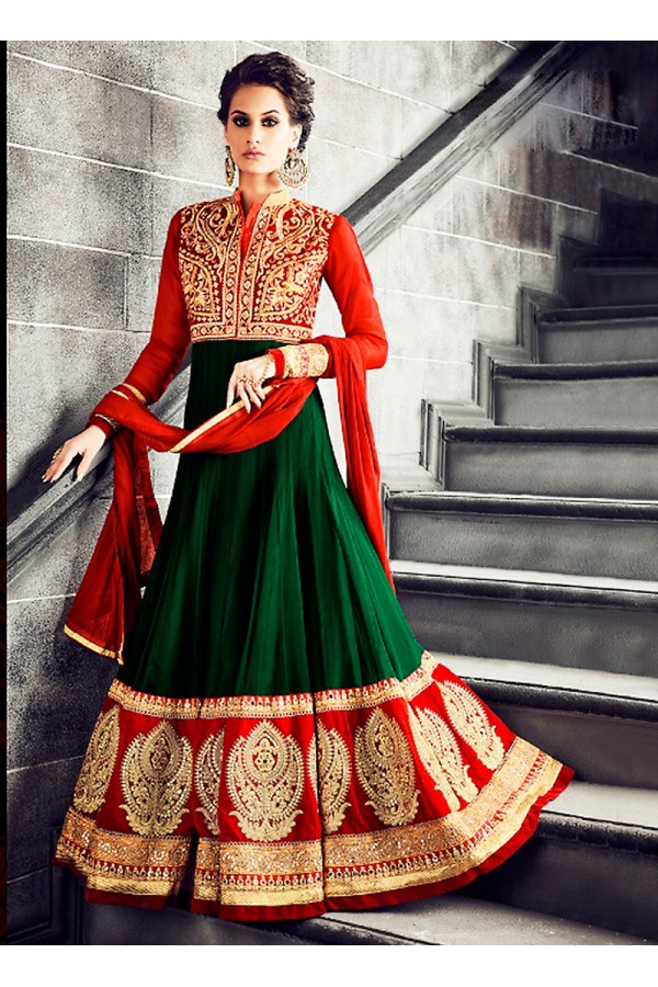 Party wear Green Georgette Salwar suit -69894