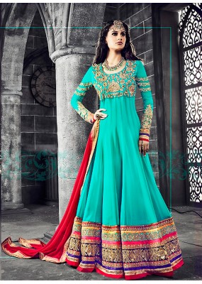 Party wear Turquoise Georgette Salwar suit -69891