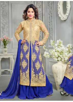 Eid Special Blue & Golden Palazzo Suit -70173