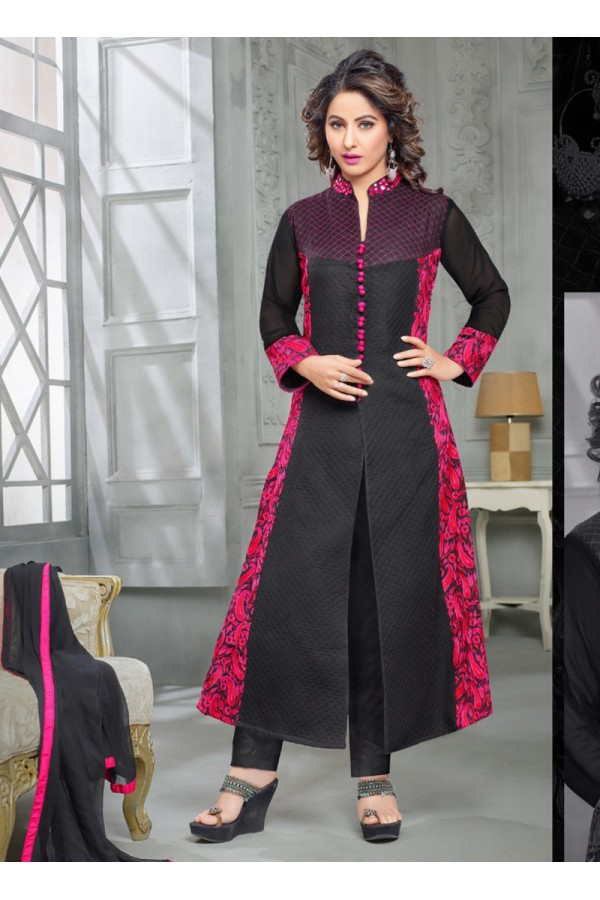 Party wear Black Georgette Salwar suit -70171