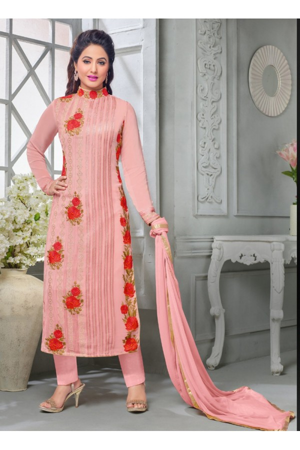 Party wear Pink Georgette Salwar suit -70170