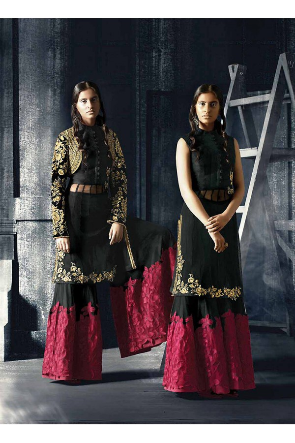 Designer Semi-Stiched Black Net  Salwar Suit -  70319