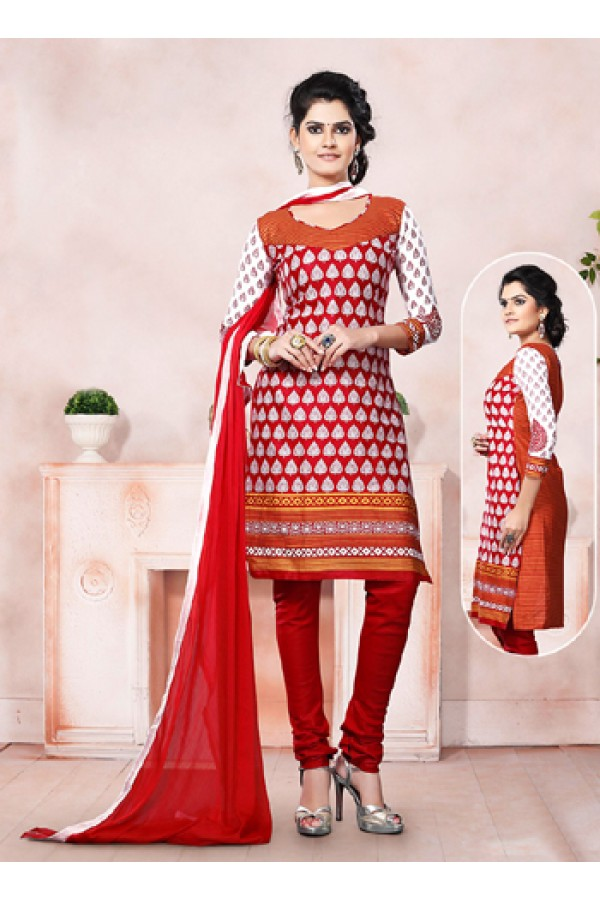 Casual Wear Maroon Un-Stitched Salwar Suit - 70492