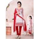 Casual Wear White Un-Stitched Salwar Suit - 70494